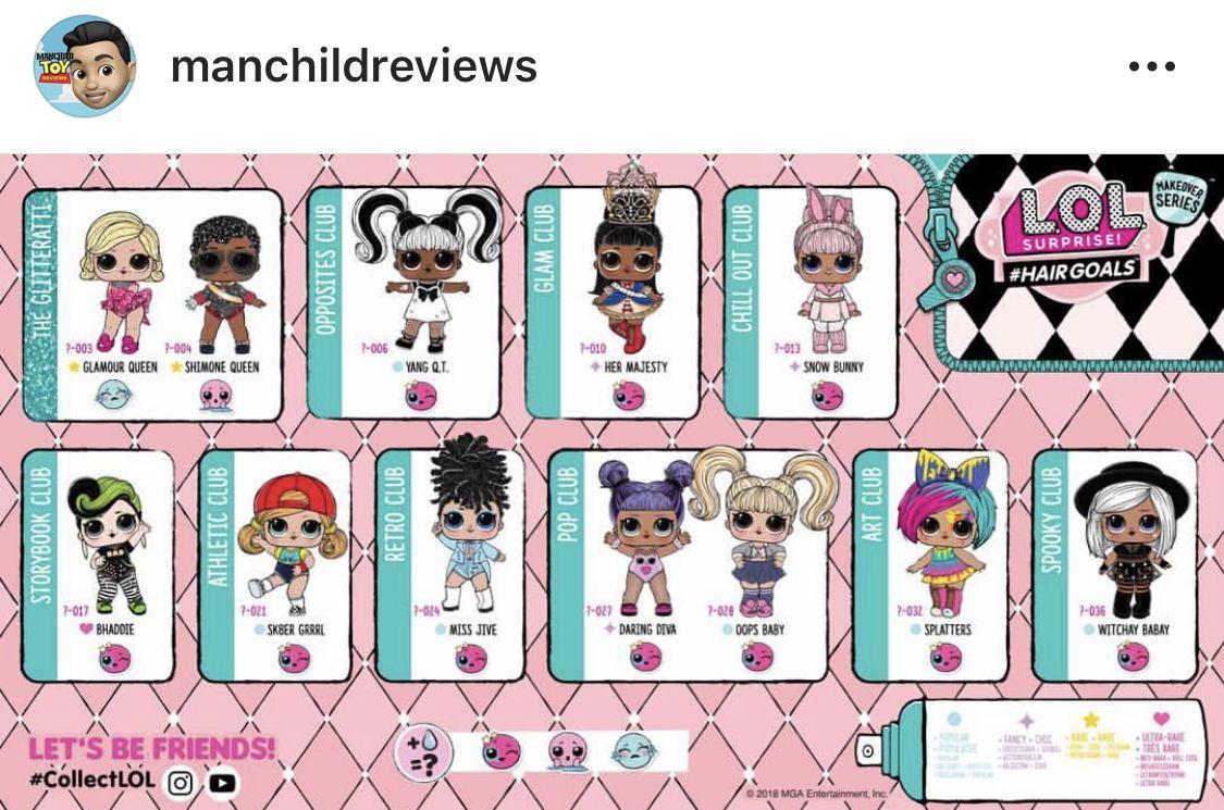 Lol Surprise Dolls Hairgoals Checklist Lol Dolls Kids