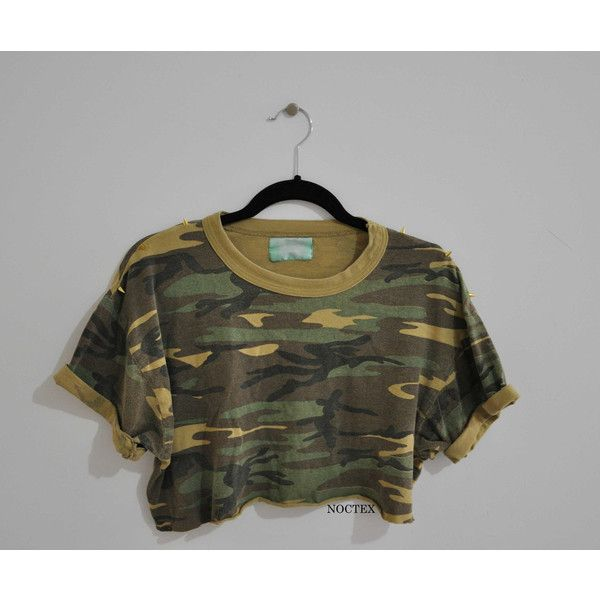 Reworked Army and Spikes Crop Top Tshirt ($16) ❤ liked on Polyvore