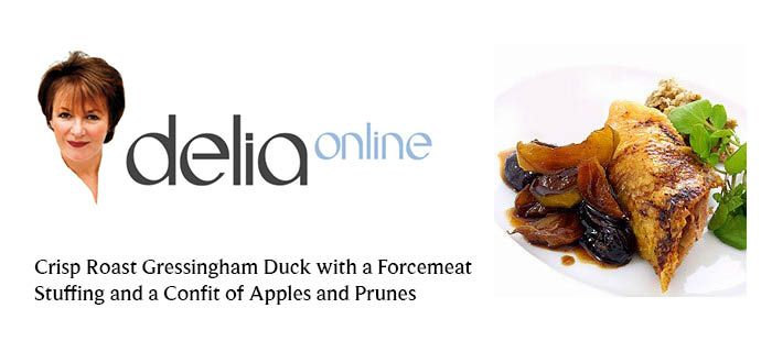 Delia's recipe for crisp duck, serve with crisp roast potatoes and some lovely imported shelled fresh peas.