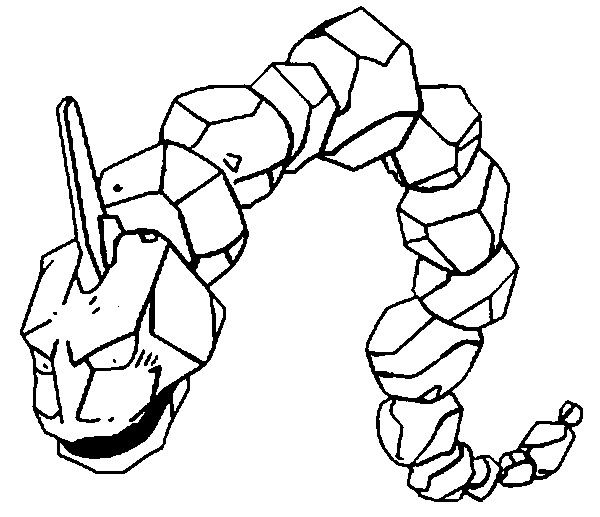 Onix Pokemon Coloring Page Resembles A Giant Chain Of Gray Boulders That Become Smaller Towards The Tail It Has Rocky Spine On Its Head And Pair