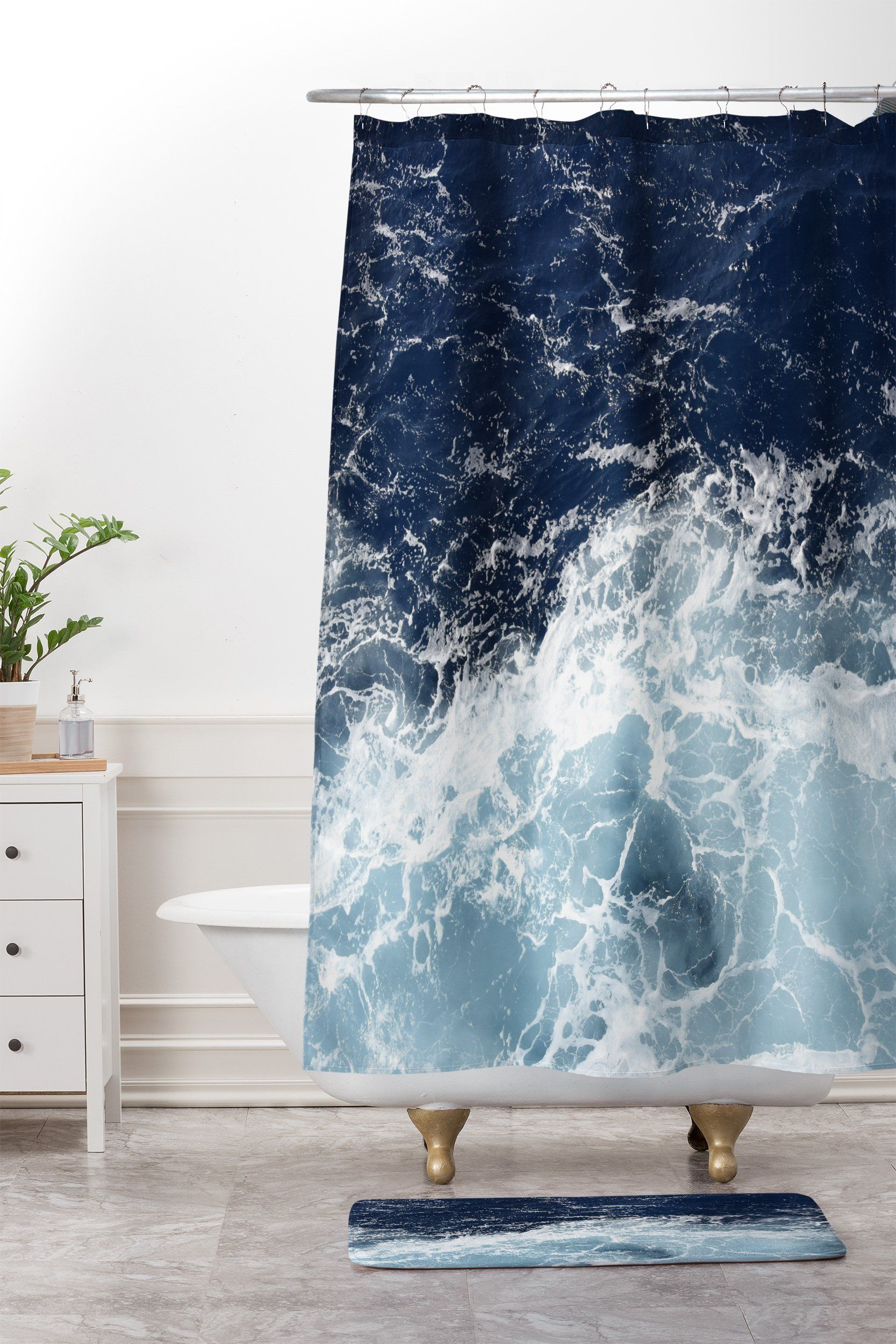 Lisa Argyropoulos Sea Swish Shower Curtain And Mat