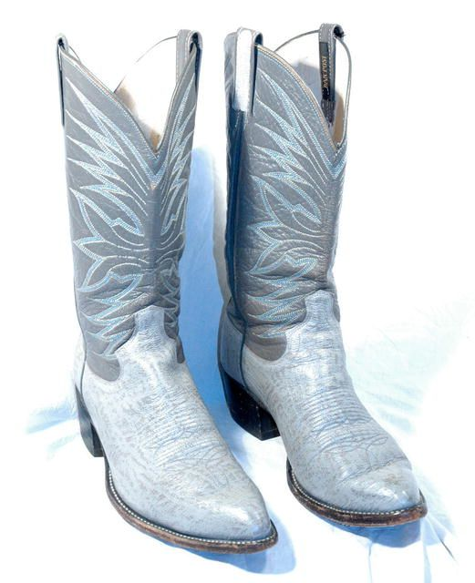 34a1ddeab68 Gray & Blue Stitched Dan Post Elephant Cowboy boots 10D | Leather ...