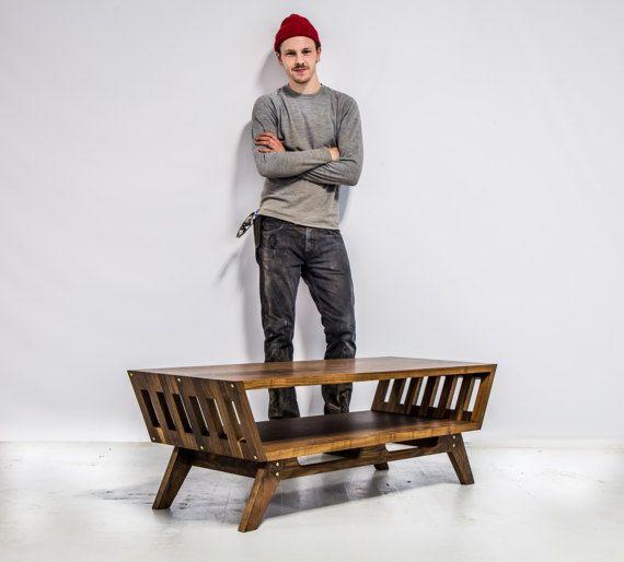 Reclaimed Wood Mid Century Coffee Table: Walnut Coffee Table, Mid Century Modern Coffee Table