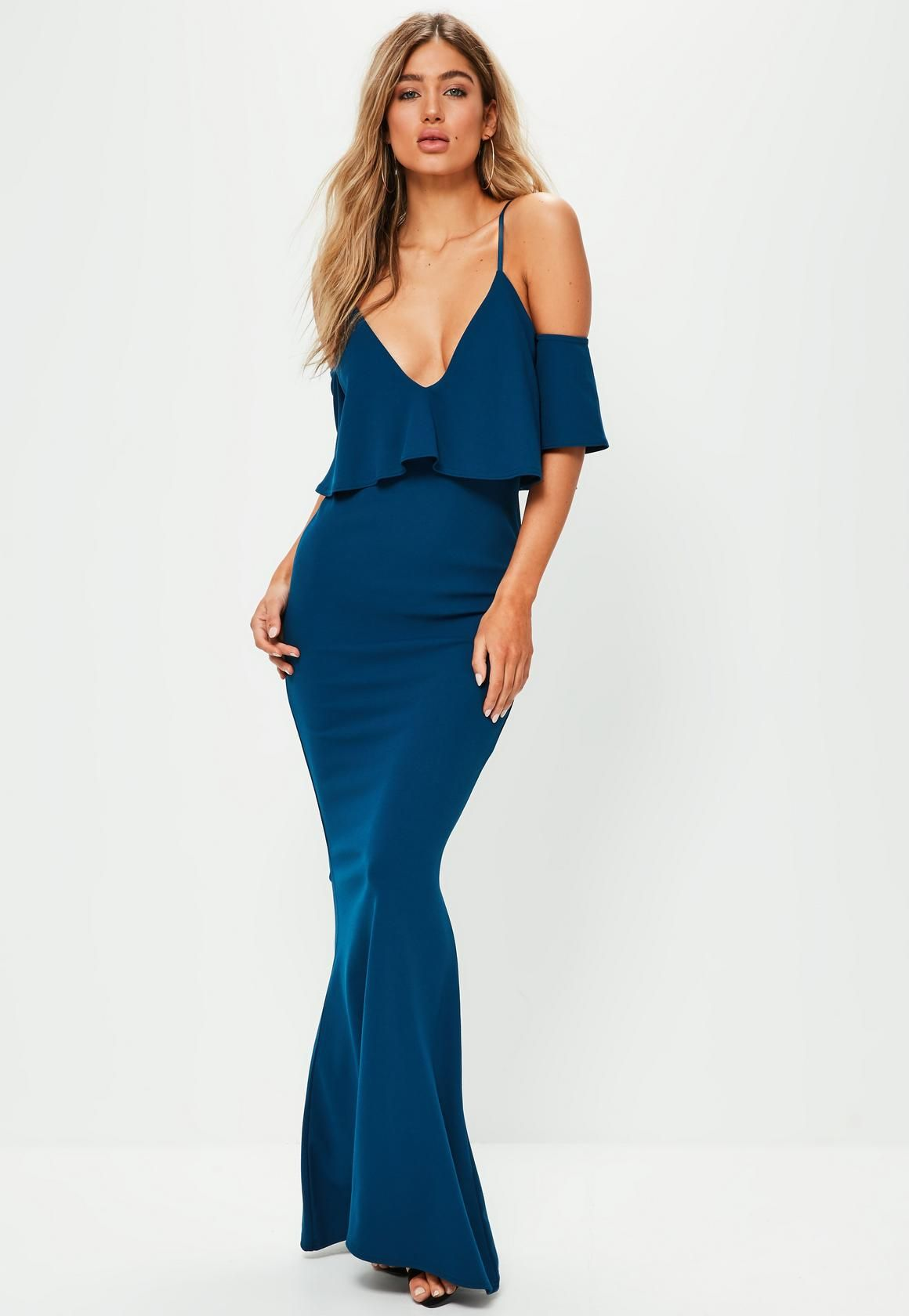 Missguided blue strappy frill fishtail maxi dress formal ideas