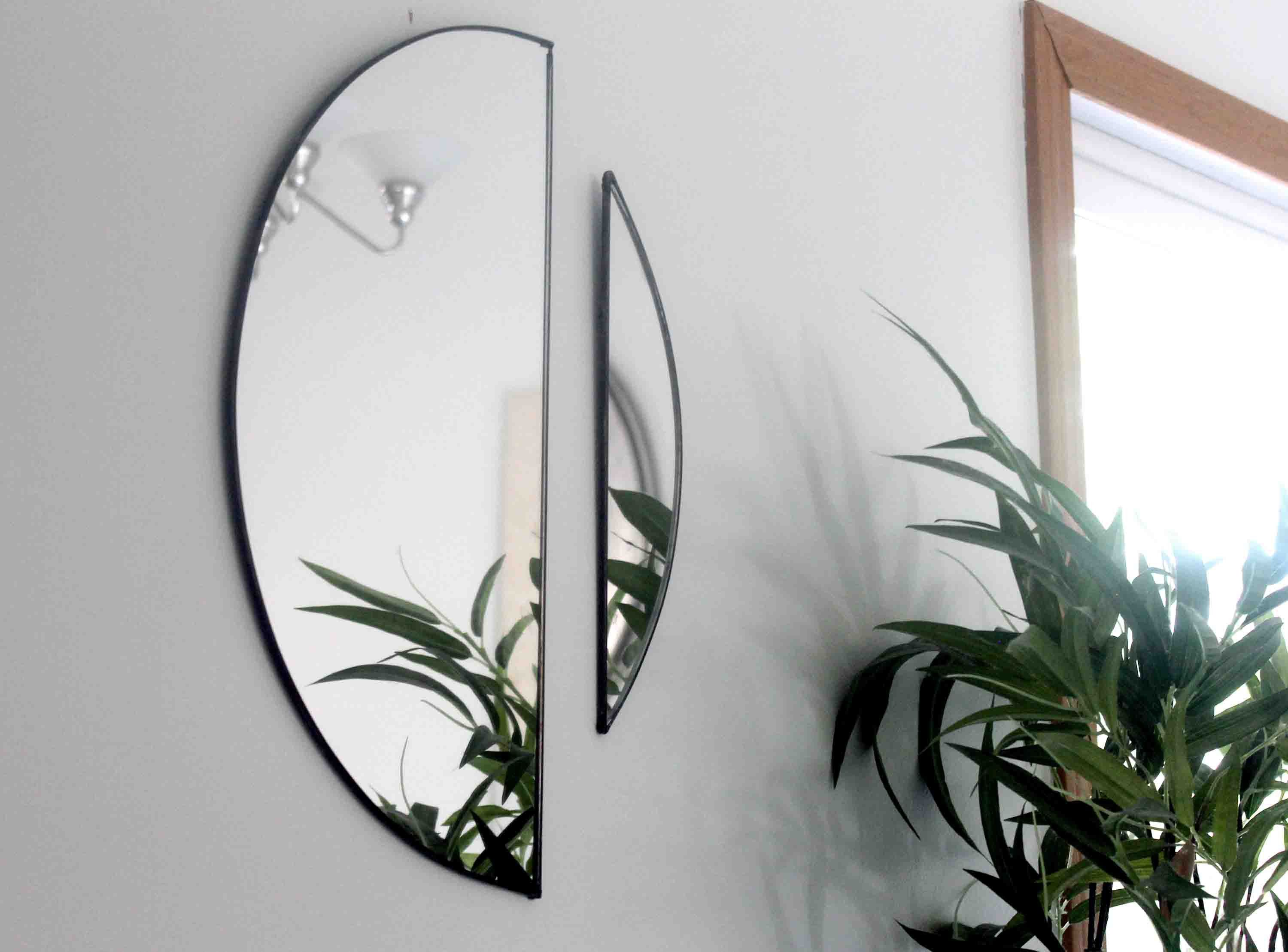 Modern Wall Hanging Mirrors Home Decor Trendy Mirrors Half Etsy Hanging Wall Mirror Modern Wall Hanging Hanging Mirror