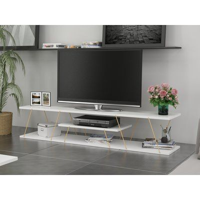 Brayden Studio Colette 59 Tv Stand Color White Gold Products