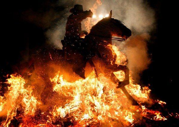 В Испании дух лошадей очищают огнём (14 фото)
