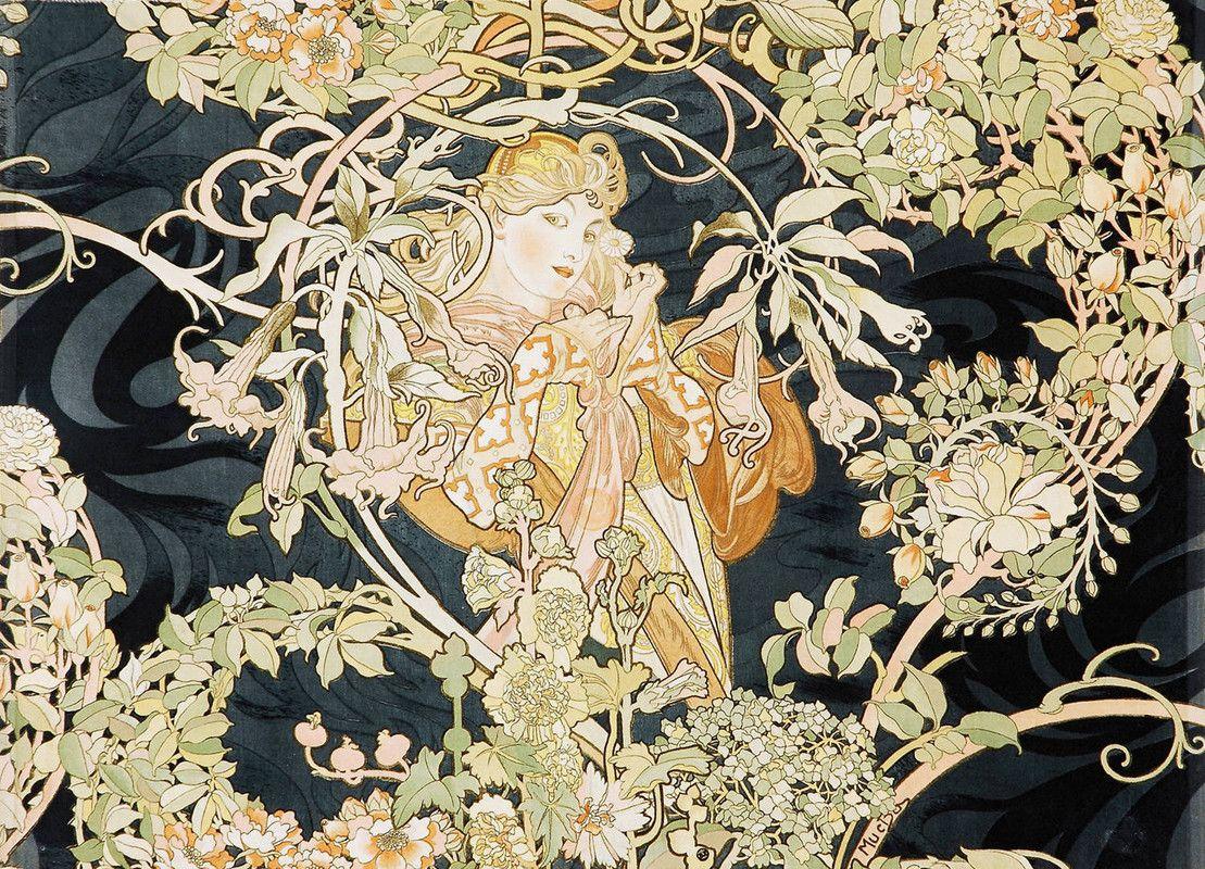 Alphonse Maria Mucha >> Femme avec des marguerites   (huile ...