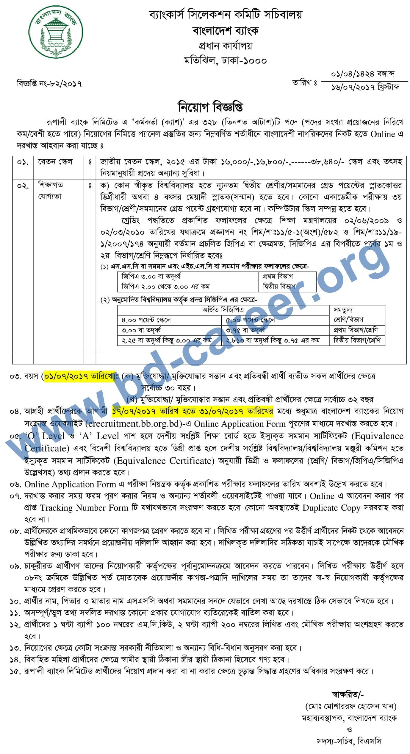 Rupali bank limited jobs circular on july 2017 position of officer cash jobs vacancy in