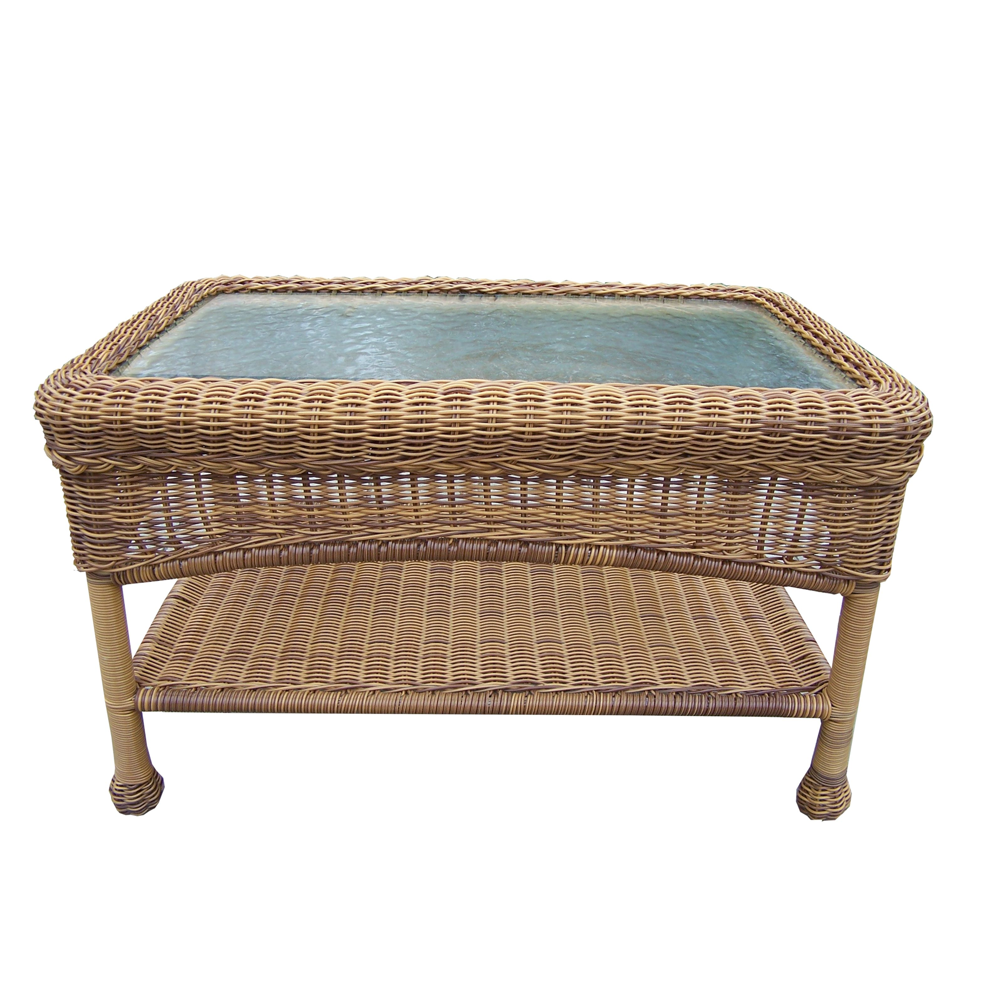29 Natural Brown Two Level Resin Wicker Coffee Table With Glass Top 31011712 Wicker Coffee Table Wicker Furniture Outdoor Coffee Tables