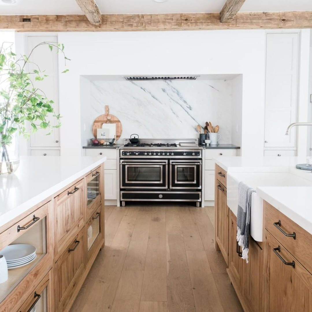 Double Islands Make For A Dream Kitchen And We Can T Forget The Beautiful Natural Wood Cabinetry Ceiling Beams Love This