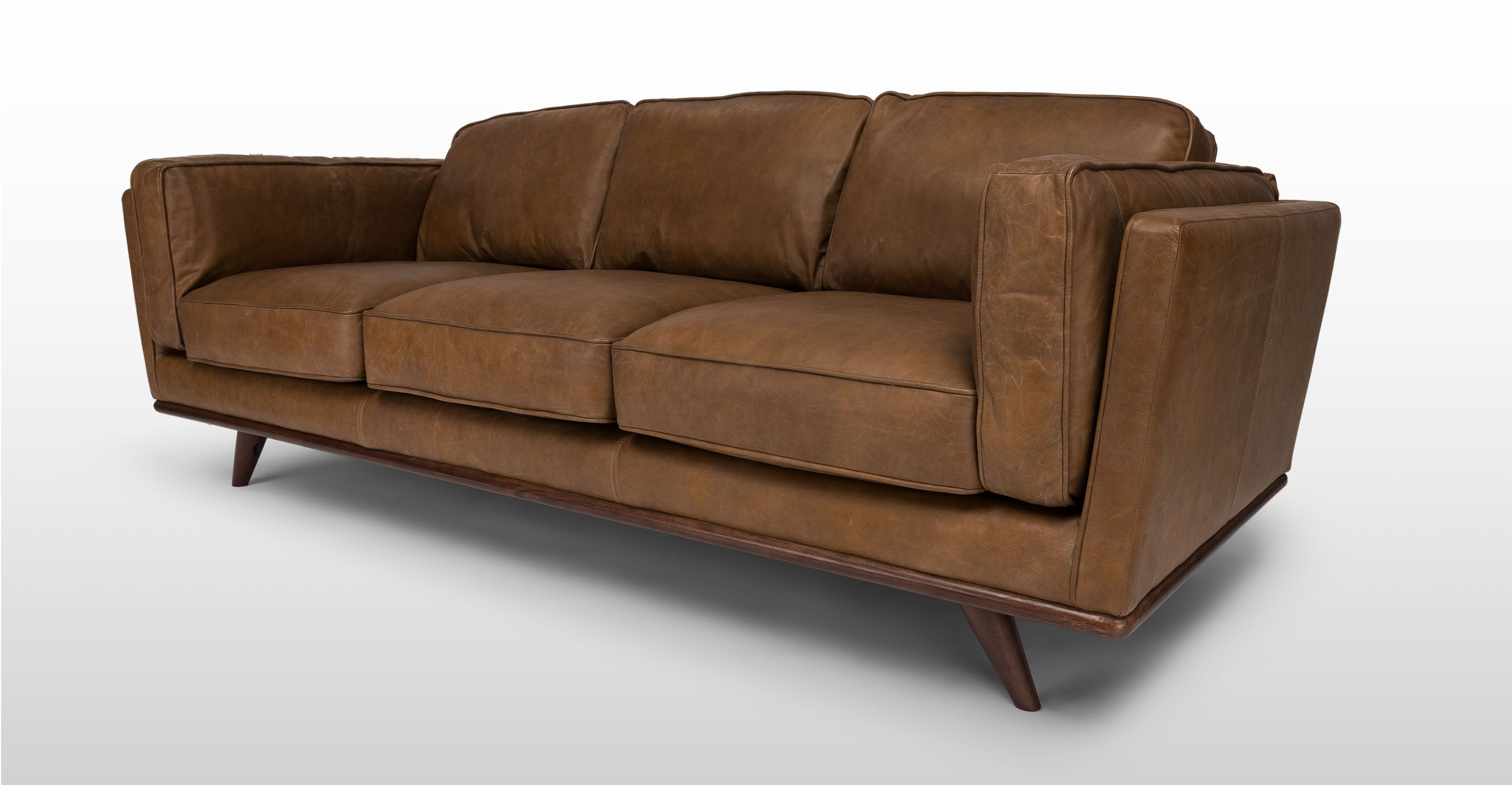 Tan Brown Leather Sofa 3 Seater Article Timber Mid Century  ~ Tan Leather Mid Century Sofa