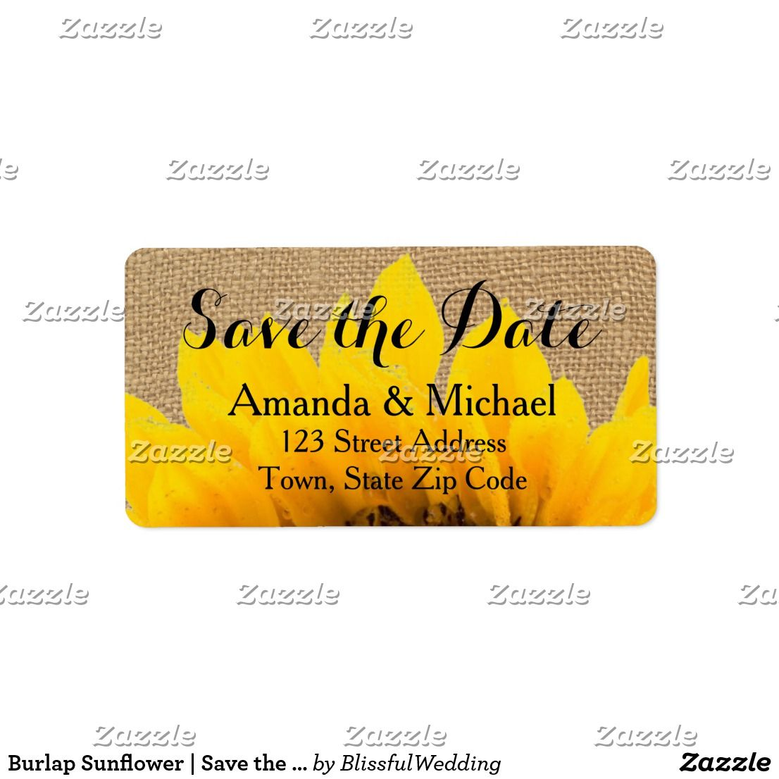 Burlap sunflower save the date address label wedding and