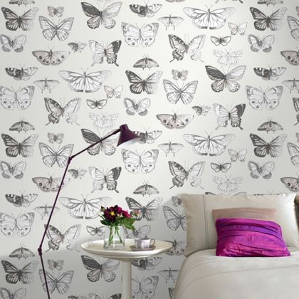 Fresco butterflies wallpaper taupe at homebase be - Butterfly wallpaper homebase ...
