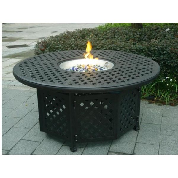 Delicieux GatherCraft Casa Grande Bronze Outdoor Cast Aluminum Round Chat Height Gas  Fire Pit Table