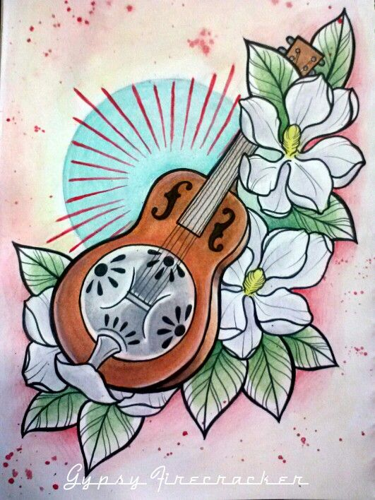 Neo Traditional Flash Art By Gypsy Firecracker Steel Guitar And Magnolia Flowers For A Southern