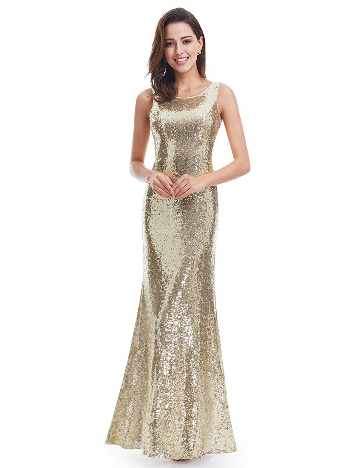Ever pretty sleeveless long sequins evening gown ueueue you can