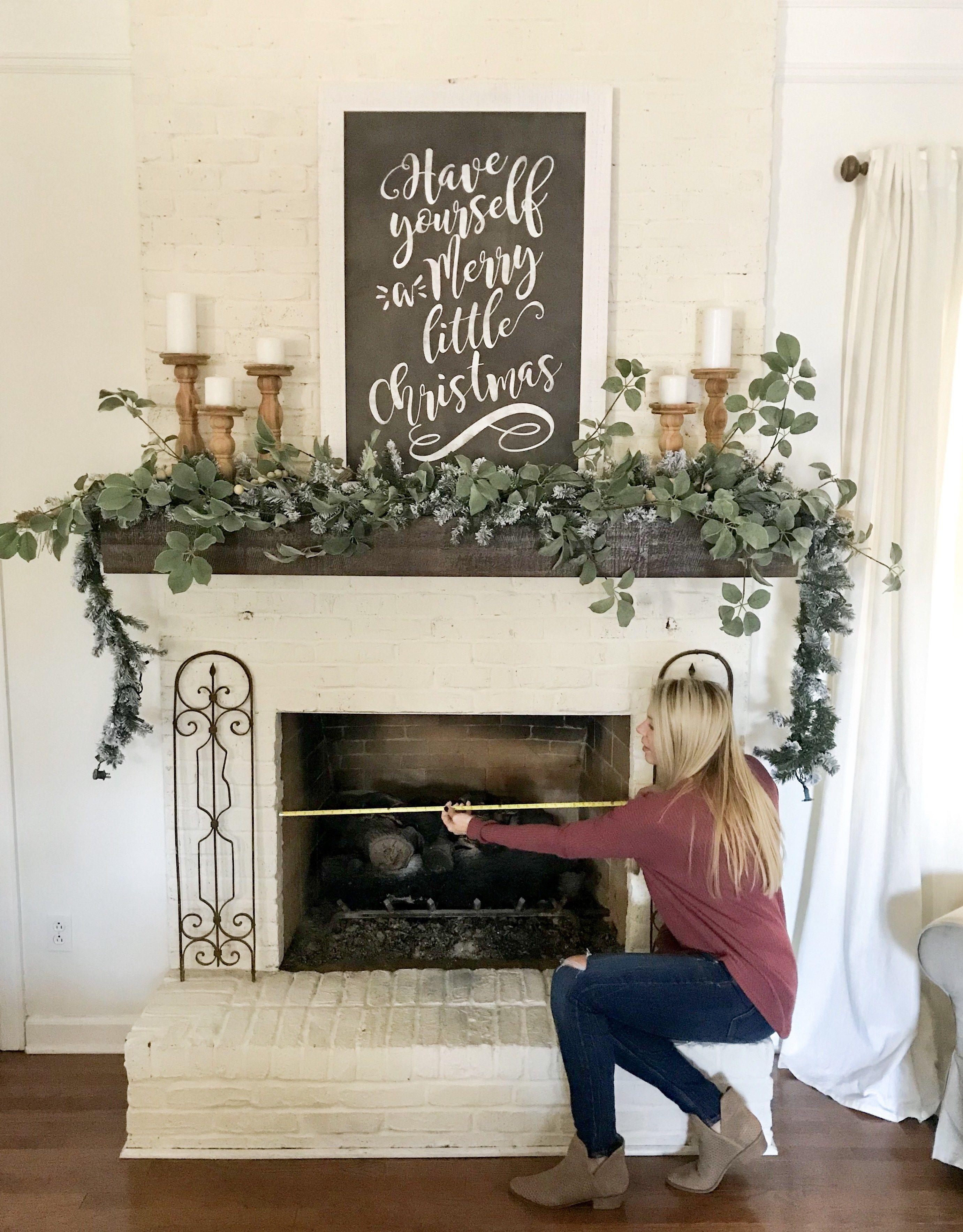 Wood Slice Fireplace Cover DIY and Christmas Mantel