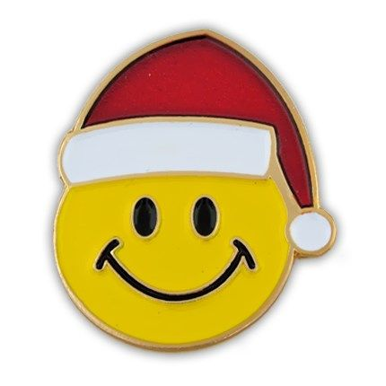 christmas smiley face pin gold plated soft enamel 395 - Christmas Smiley Faces
