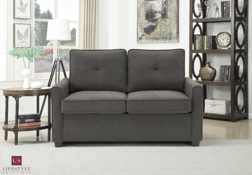 Lifestyle Solutions Venice Loveseat With Pullout Bed Heather Gray Walmart Com Love Seat Grey Loveseat Leather Sleeper Sofa