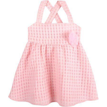 G-Cutee Girls' Pink Textured Cross-Back Dress with Flower Detail, Size: 4 Years