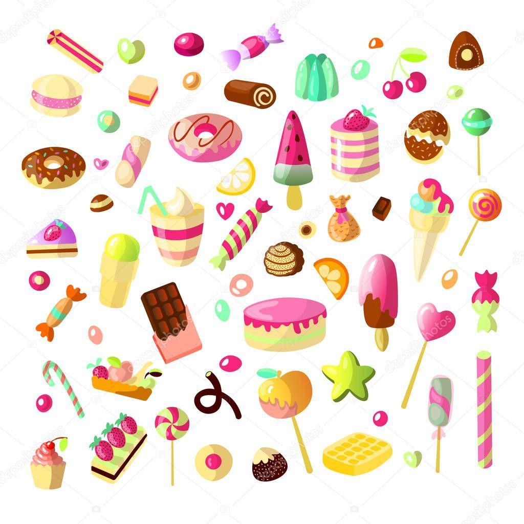 Dibujos Animados Dulce Candy Set Coleccion De Dulces Estilo De Dibujos Animados Jalea Dulces Tortas Dulce Donut Y Merm Caramelos Dibujos Dulces Gelatinas