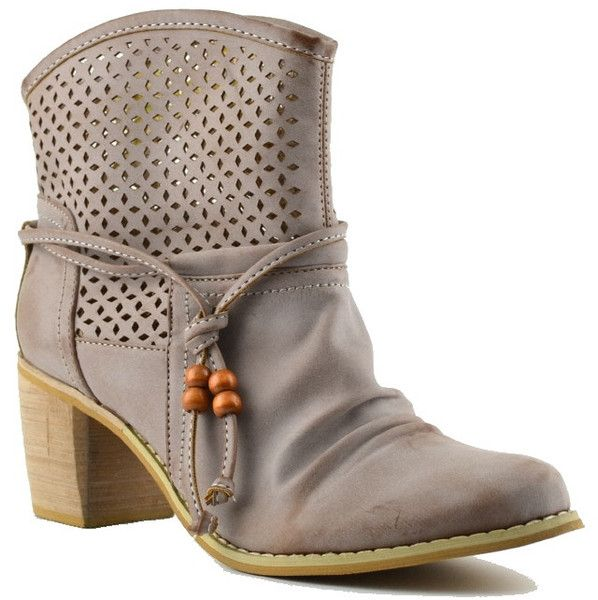 boots in leather look with decorative diamonds holes