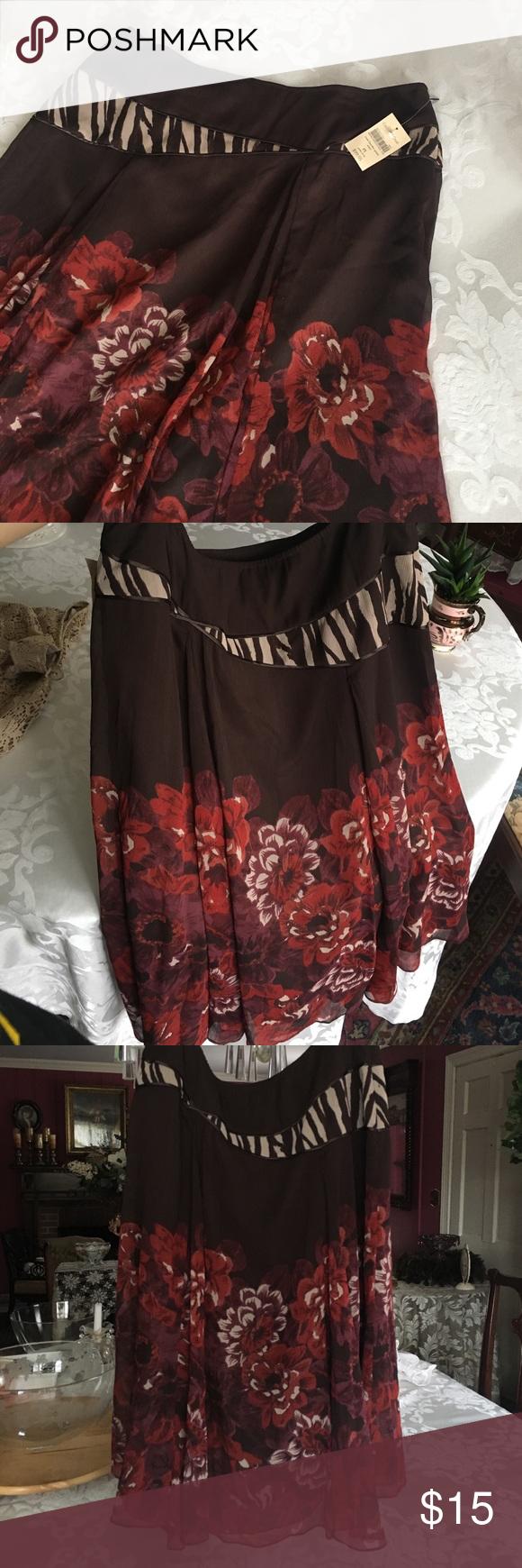 Coldwater Creek Skirt NWT rose border print skirt, Petite 14-16 Coldwater Creek Skirts