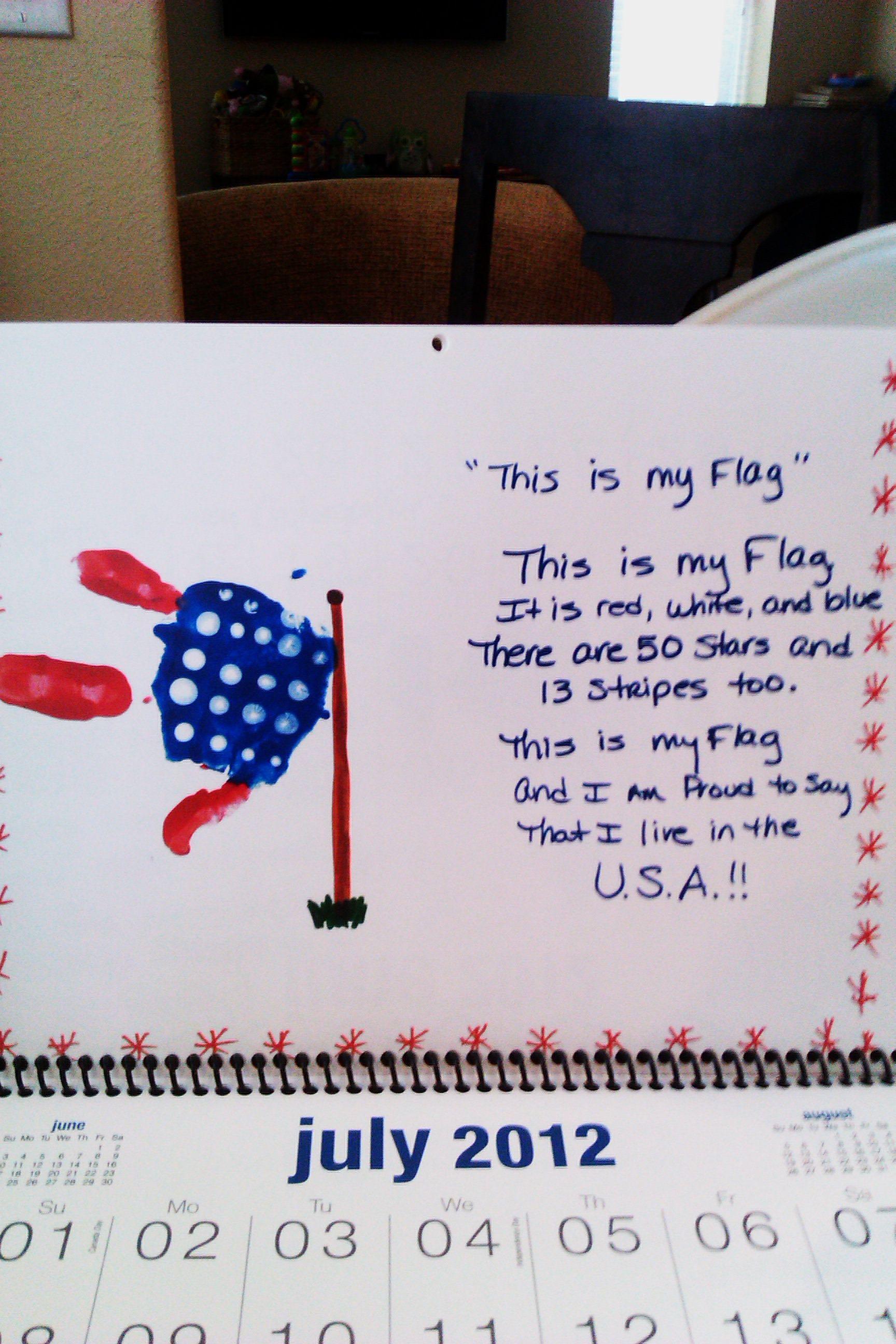 July Handprint Calendar Poems
