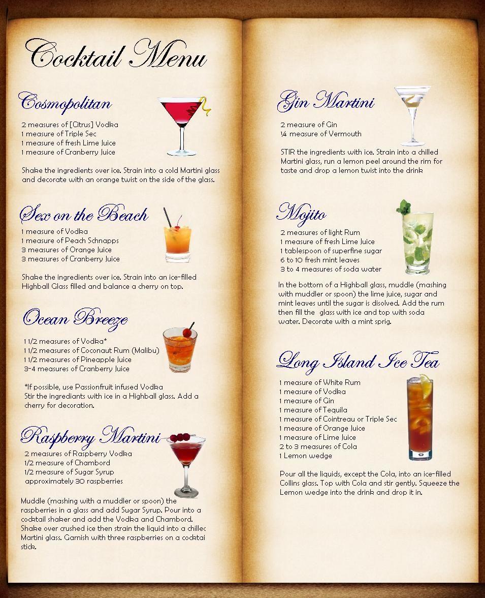 Cocktail Karte.Cocktail Menu Table Plan Idea Bryk Bar Karte