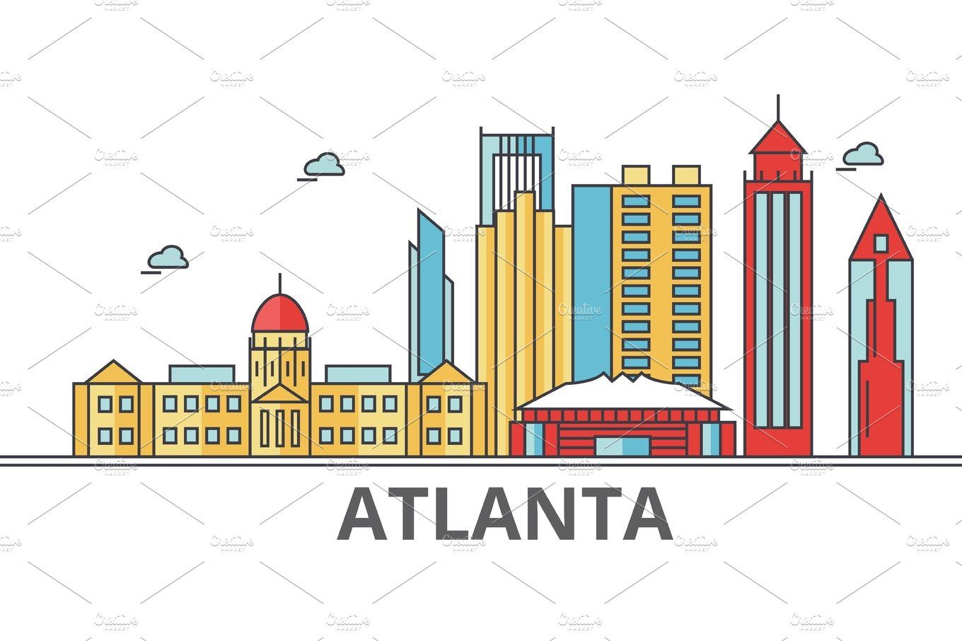 Atlanta City Skyline Buildings Streets Silhouette Architecture Landscape Panorama Landmarks Editable Atlanta City City Skyline Silhouette Architecture