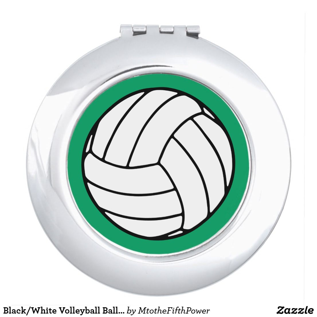 Black White Volleyball Ball On Shamrock Green Compact Mirror Zazzle Com Blue Vanity Compact Mirror Black Mirror