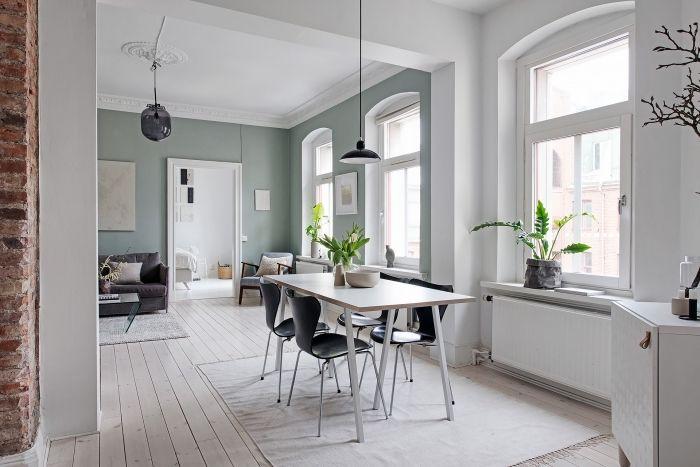 1001 id es comment int grer la peinture vert de gris Salle a manger blanc et gris