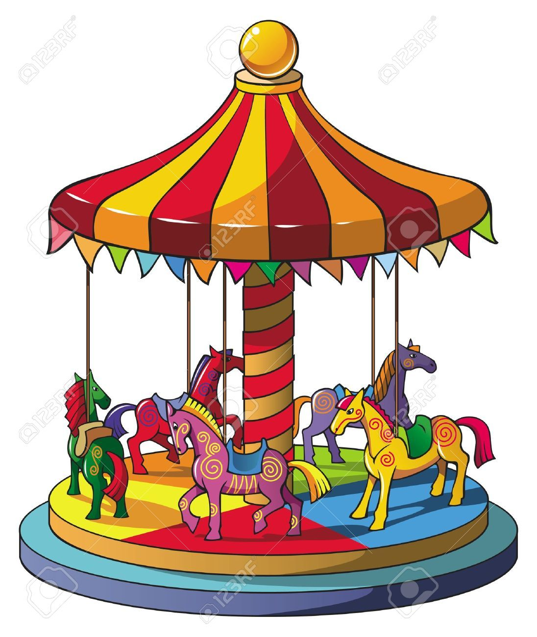 children carousel with colorful horses merry go round vector rh pinterest com carousel clip art free downloads carousel clipart
