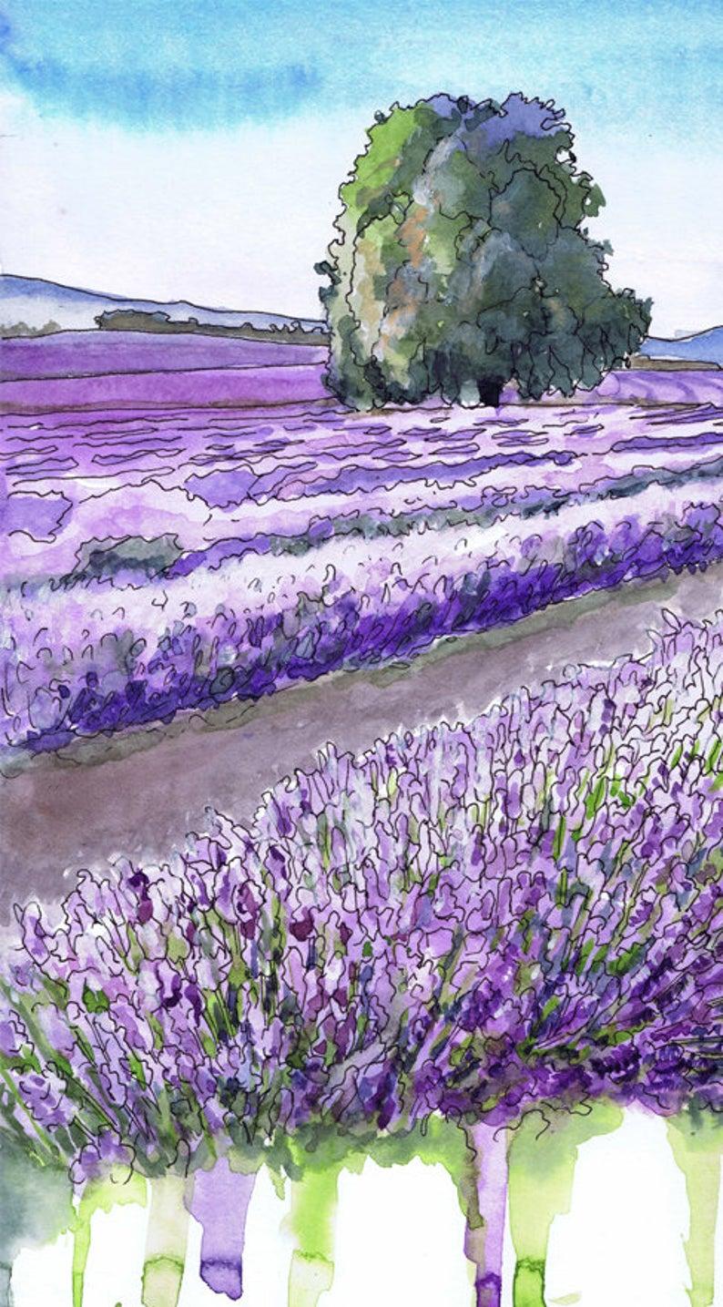 Lavender Fields Landscape Watercolor Painting Provence Art Etsy Watercolor Landscape Lavender Fields Photography Watercolor Paintings Easy