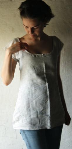 Linen scoop neck top by Larime Loom