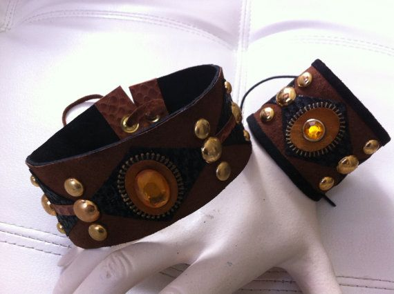 Tobacco Brown and Black Choker/Collar and by Surrenderloveleather, $94.00