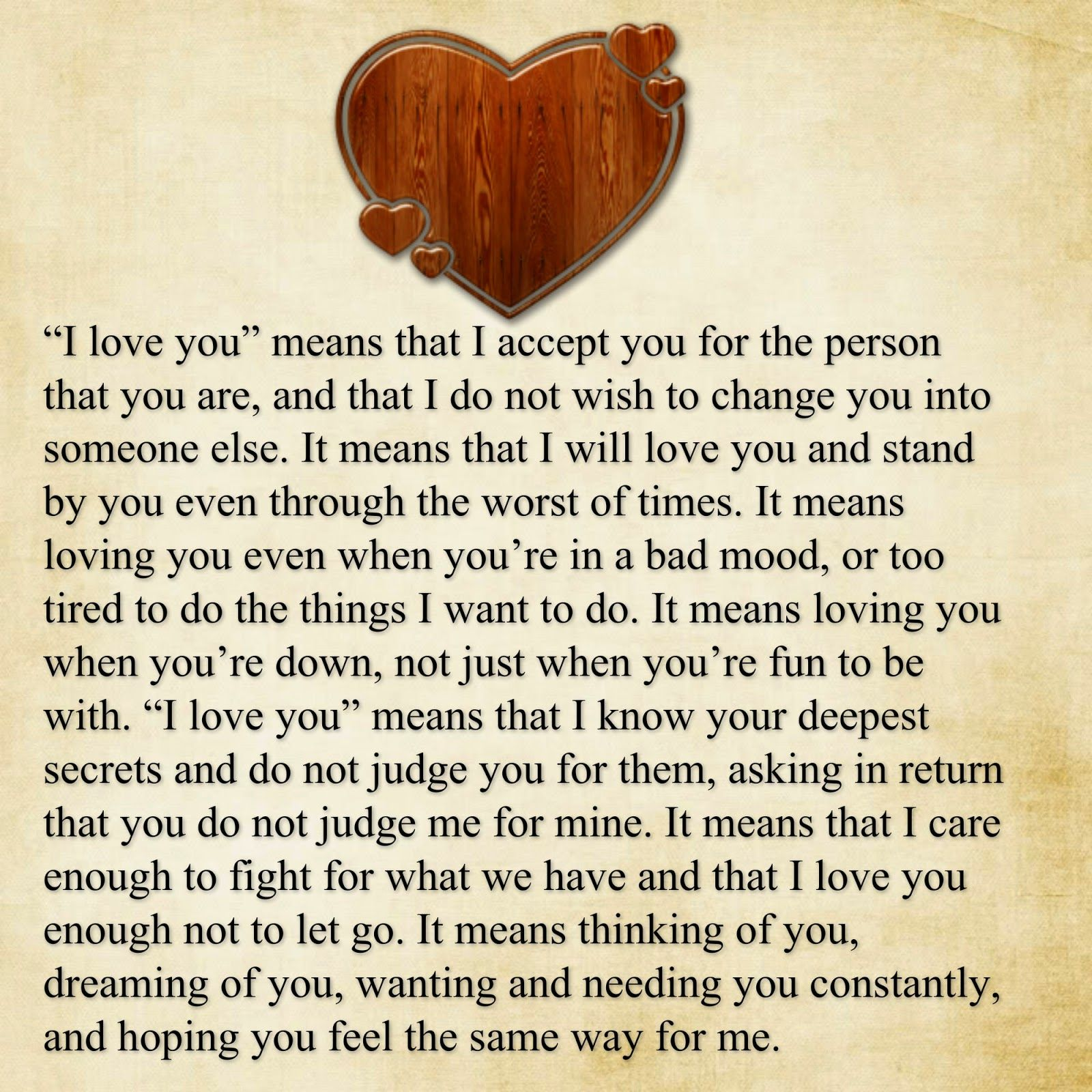 Awesome Quotes: I love you means: