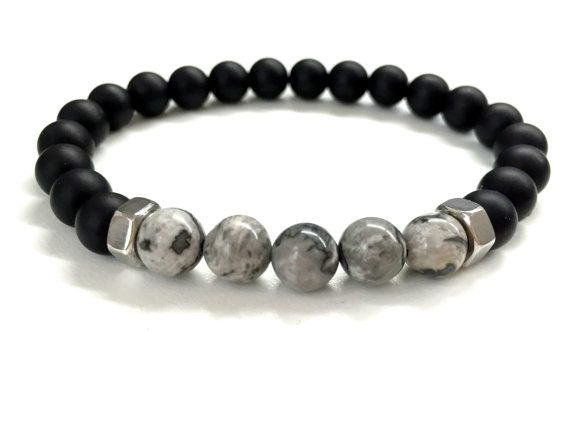 Men S Bead Bracelet Stone Jewelry Stretch Elastic Black Onyx Gray Jasper Gemstone