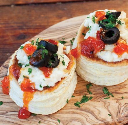 Cottage Delight . goats cheese vol au vent . { lovely tasty flavour combination . super savoury vol-au-vent recipe . the Great British Bake Off 2015 . Episode6 . showstopper } .