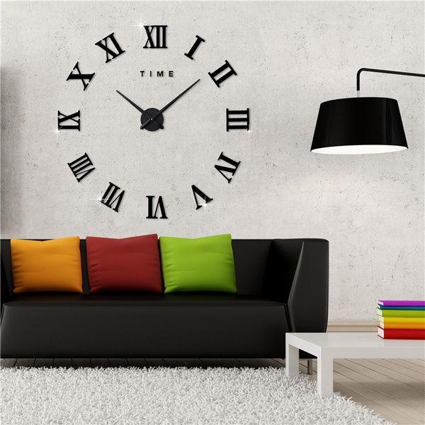 Modern 3d Frameless Wall Clock Style Watches Hours Diy Room Home Decorations Model Wish Office Room Decor Wall Clock Sticker Living Room Clocks