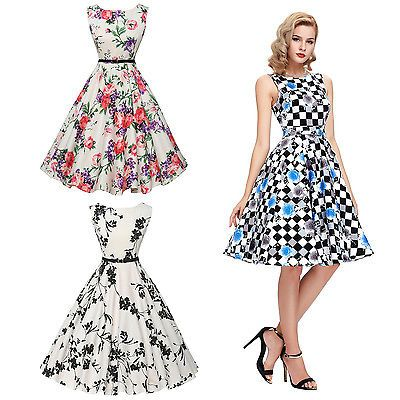 US-Women-50s-60s-Rockabilly-Floral-Pinup-Swing-Prom-Ball-Party-Evening-Dress