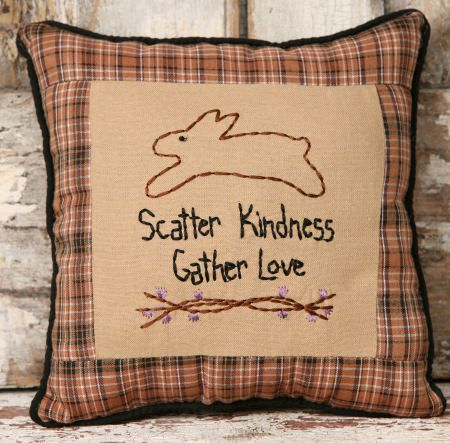"5P5715bm - Scatter Kindness Pillow 9"" square $ 7.95"