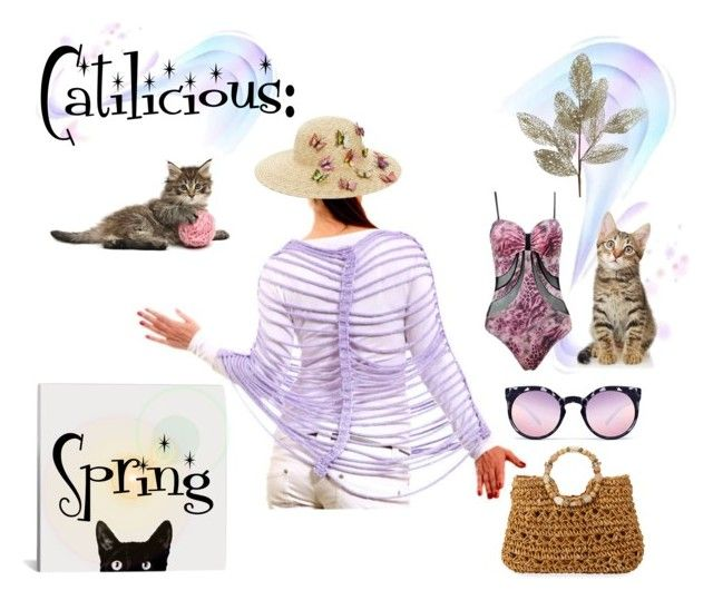 """""""Catilicious #2"""" by savenna-zlatchkine ❤ liked on Polyvore featuring Vanguard, August Hat, Cappelli Straworld, Quay, Pier 1 Imports, Spring, cats and polyvorecontest"""