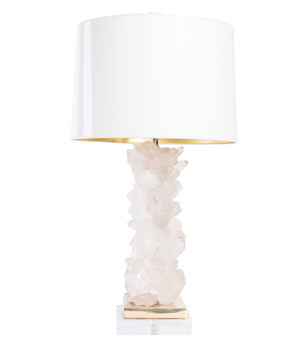 Lamp Is Handcrafted Using Quartz Crystal Points On A Metal Riser With An Acrylic Base Roximately 29 H 7 Square Available