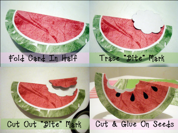 How To Make A Watermelon Card Or Invitation For Summer Birthday Parties, BBQ's, Picnics And Cook-Outs #cards #diy #papercrafts
