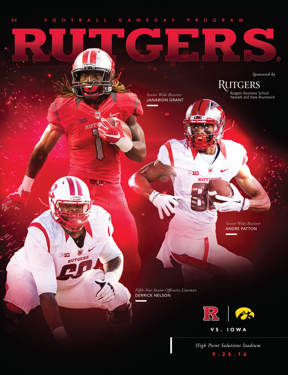 The 2016 Rutgersu Football Gameday Program Vs Iowa Features Seniors Andrew Patton Janarion Grant And 5th Year Senior Der Football Program Football Lineman