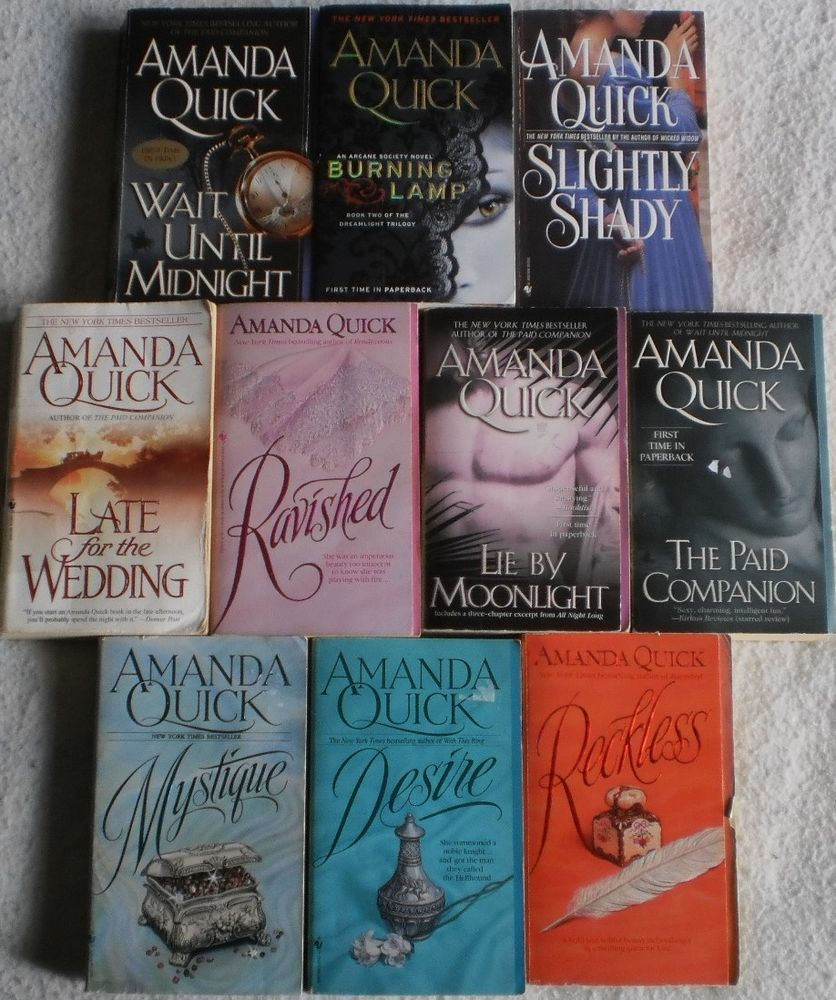 Amanda Quick Lot Of 10 Includes Ravished Mystique Reckless Wait Until Midnight Desire Burning Lamp Slightly Shady Late For The Wedding