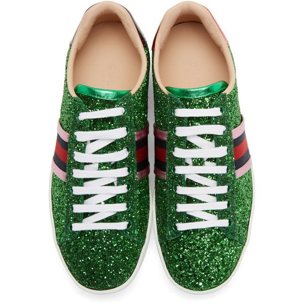 Gucci Green Glitter Ace Sneakers ( 620) ❤ liked on Polyvore featuring shoes fdee06526c