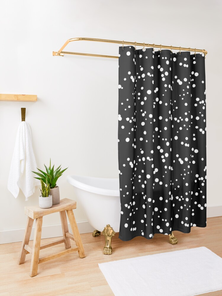 Polka Dot Shower Curtain By Viwildy In 2020 Dark Shower Curtain Boho Shower Curtain Minimalist Showers